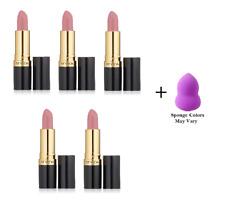 Revlon Super Lustrous Lipstick, Pink Pout, 0.15 oz (5 Pack) + Makeup Sponge