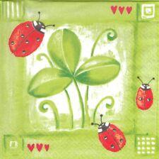 Lot de 2 Serviettes papier Coccinelle Trèfle Coeur Decoupage Collage Decopatch