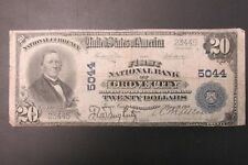 Large National Bank Note 1902 $20 Fnb Grove City Pennsylvania Ch#5044 Vg [A]