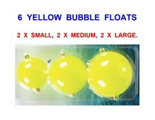 6 YELLOW BUBBLE FLOATS,SMALL,MEDIUM,LARGE,FOR GAME FLOAT ROD REEL LINE FISHING