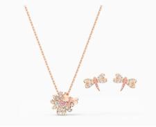 Swarovski Crystal Eternal Flower Pink Dragonfly Pendant and Earring Set Rose
