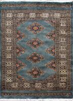 Traditional Hand Knotted Bokhara Area Rug Blue/Gold 100% Wool Rugs Size(2.5 x 4)