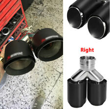 Car Right Side Exhaust Pipe Carbon Fiber Muffler Stainless Steel Dual Tips Matte