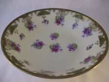 Antique C.S. Prussia Round Vegetable Bowl Purple Pansies Carl Schlegelmilch Gold