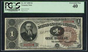 FR347 $1 1890 TREASURY NOTE PCGS XF 40 FANCY SERIAL #A51000 WLM4358
