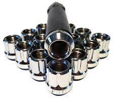16 Chrome Open End 12X1.5 Acorn Seat Tuner 6 Spline Lock Lug Nut Set With Key