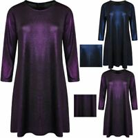 Womens 3/4 Sleeve Christmas Lurex Swing Dress Ladies Plus Size Party Wear Dress