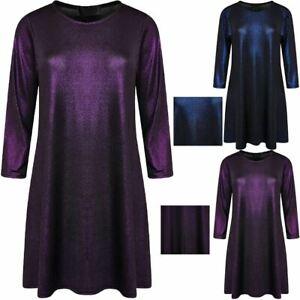 Womens 3/4 Sleeve Christmas Lurex Swing Dress Ladies Plus Size Party Wear Dress