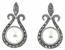 Vintage Deco Sterling-Silver Marcasite & Faux Pearl Earrings