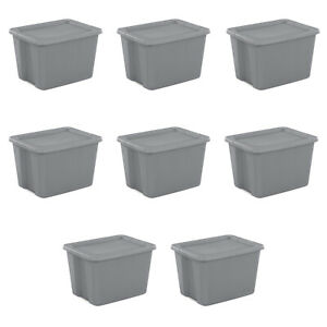 8 PLASTIC STORAGE CONTAINERS 18 Gallon Sterilite Stackable Tote Box Bin With Lid