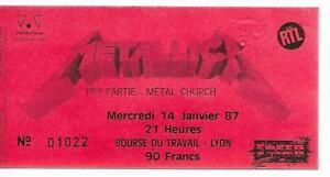 RARE / TICKET BILLET DE CONCERT - METALLICA : LIVE A LYON ( FRANCE ) 1987