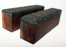 2 Old Vintage Letterpress Wood Block Copper Calendar Plates Indiana Printers