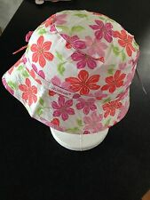 BNWT Girls Pink & Orange Flowers Jelly Beans Bucket Style Sun Hat Size S/51cm