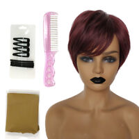 "8"" Short Wig for Women Wine Red Human Hair Pixie Cut Chic Wig w/ Side Bangs"