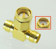 SMA Male to Two SMA Female Triple T RF Adapter Connector 3 Way Splitter