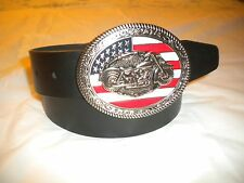 BRAND NEW BIG BUCKLE WITH A MOTORCYCLE AND THE US FLAG LEATHER BELT XL-42-44