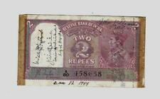 India - Government of India 2 Rupee KGVI SHORT SNORTER WWII banknote