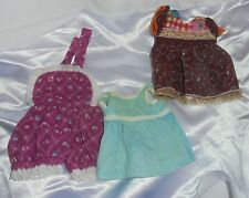 """Doll Clothes ✿ Vintage 3 Dresses For Small Doll 10"""" Chest"""