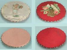 2 Antique Hand Made Silk Pin Cushion /Discs * English * Circa 1850