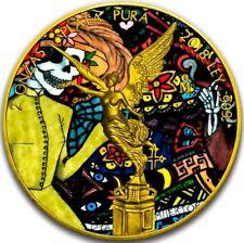 2018 2 Oz Silver Mexican DIA DE LOS MUERTOS LIBERTAD Coin WITH 24K GOLD GILDED.
