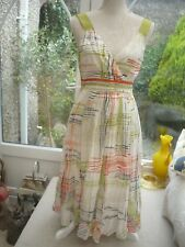 Monsoon stunning lined print  cotton/silk   50's style dress Ribbon detail 10