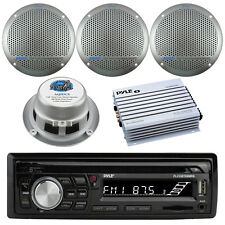 "Pyle Bluetooth Marine Radio MP3/USB/SD CD AM/FM, 400W Amp, 4x 5.25"" Speakers"