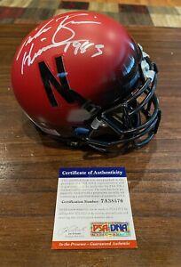 Mike Rozier autographed Nebraska Cornhusker Red Mini Helmet W/83 Heisman PSA