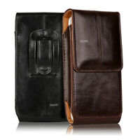 CELL PHONES VERTICAL CARRYING LEATHER POUCH CASE COVER WITH BELT CLIP HOLSTER