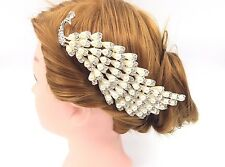 Stunning Shiny Pearl Diamante Ivory Peacock Wedding Hair Comb Accessories