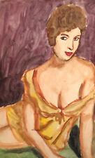 Original vintage watercolor painting impressionist erotic female portrait