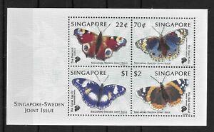 SINGAPORE *1999 * M/Sheet (4 stamps) * MNH** Butterflies - Mi. BL68