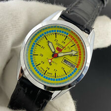 Vintage Seiko 5 Automatic Day Date Yellow Face 6309 36MM Mens Wrist Watch ST048
