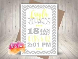 Personalised New Baby Card: Typographic Style Birth Details Yellow/Grey Chevrons