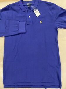 New Polo Ralph Lauren Boys Cotton Long Sleeved Blue Polo Shirt Size XL (18-20 )