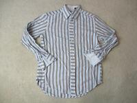 Robert Graham Button Up Shirt Adult Medium Blue Brown Casual Flip Cuff Mens *