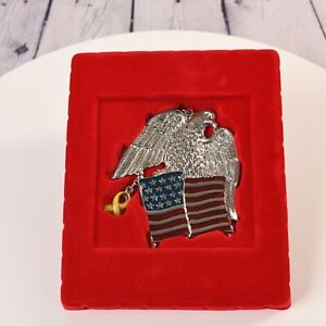 Gorham Ornament Eagle of Courage Patriotic American Flag Silverplate New Box NIB