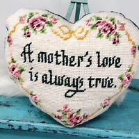 Vtg Handmade Needlepoint Tapestry Mother's Love PILLOW Heart Shaped Roses