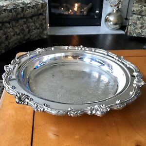 "Silver Over Copper Bowl Platter 13"" x 2.5"" Ornate"