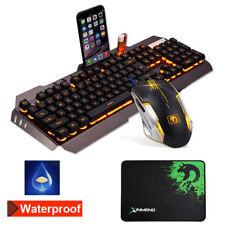 Metall Gaming LED Beleuchtet Tastatur +Atmungslicht Maus 800-2000 DPI+Mauspad
