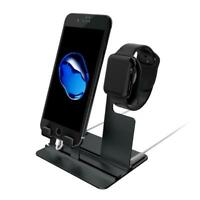 Charging Dock Station Charger Stand Holder For Apple Watch iWatch iPhone - Black
