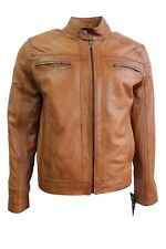 New Fashion Casual Men's Tan Deluxe Biker Style Real Soft Nappa Leather Jacket