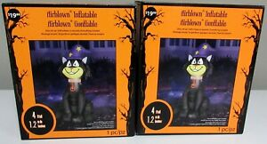 GEMMY HALLOWEEN FOUR FOOT AIRBLOWN INFLATABLE WIZARD CAT LOT OF 2 / NEW OLD STK