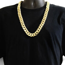 21 mm 30 inch  14K Gold Finish Miami Curb Cuban Heavy Men's Chain Thick Necklace
