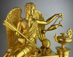 """Empire Pendule """" Die Liebe nährt das Leben """"  Rarität - Paris um 1820  Kaminuhr"""