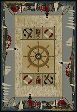 "Blue Boat Yacht Lighthouse Nautical Area Rug 530-29960 - Aprx 3' 11"" x 5' 3"""