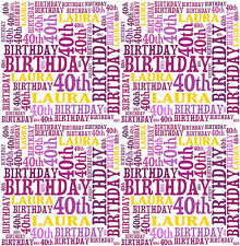 Personalised Wrapping Paper Birthday 18th 21st 40th Any age Word Art 2018
