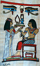 5 by 7 Egyptian Papyrus genuine hand painted eye Horus Nefertari Ramses II