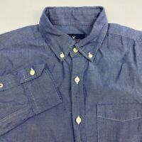American Eagle Outfitters Button Up Shirt Men's S Long Sleeve Blue Classic Fit