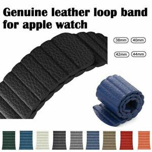 Genuine Leder Loop Armband Für Apple Watch Series 7 6 SE 5 4 3 2 1 44 42 38 40mm