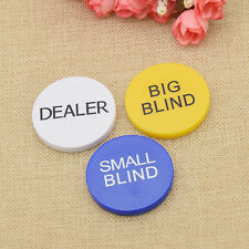 Texas Hold'em Poker Chips Big Blind Small Blind Dealer Button Gelb Blau Weiß 3x
